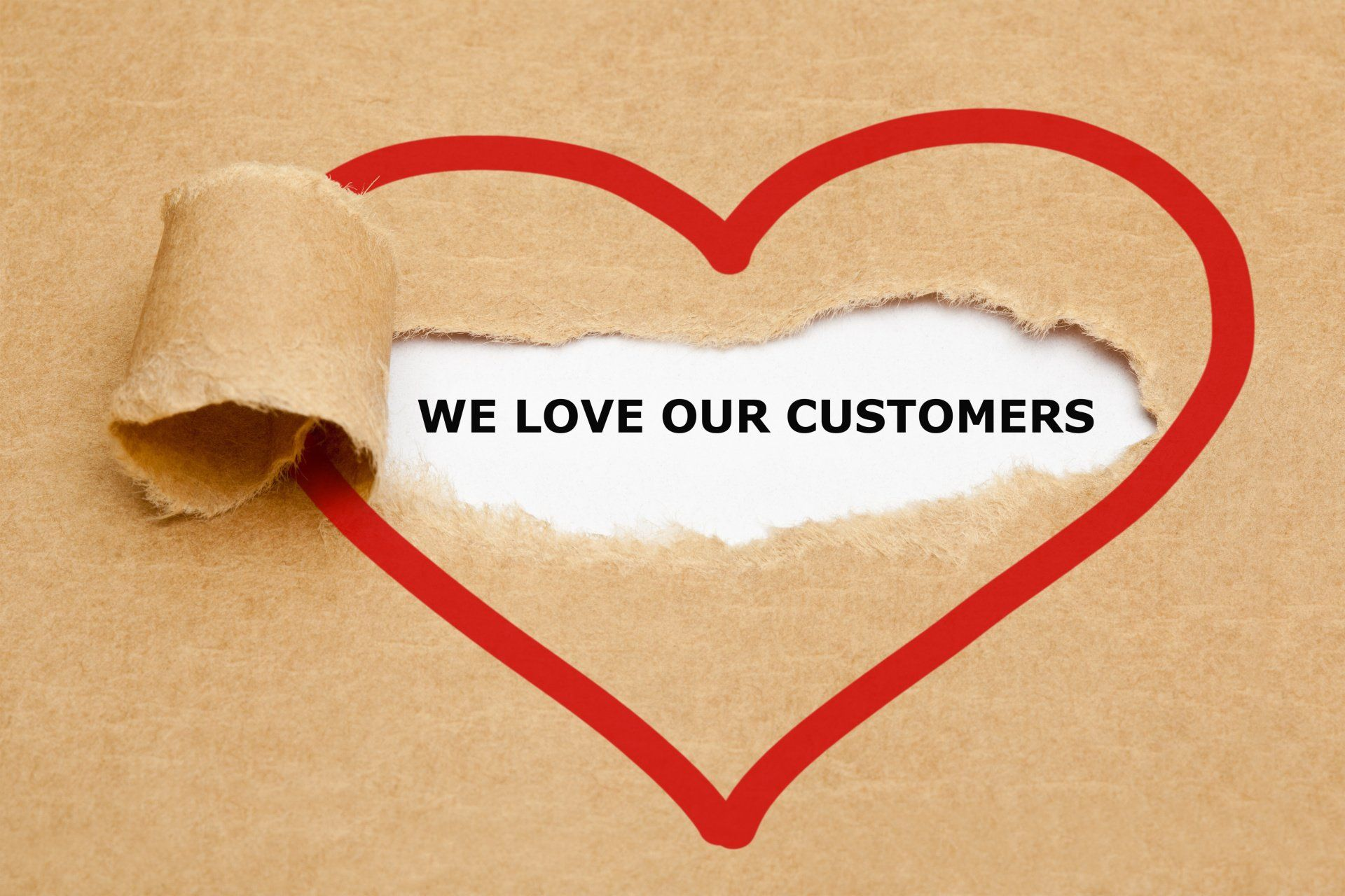 a heart that says 'we love our customers'