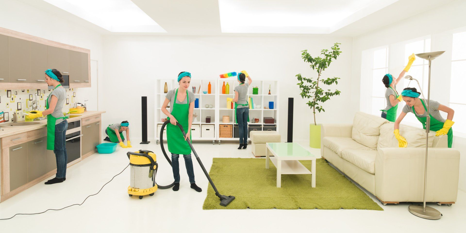 picture of a woman cleaning multiple parts of a room